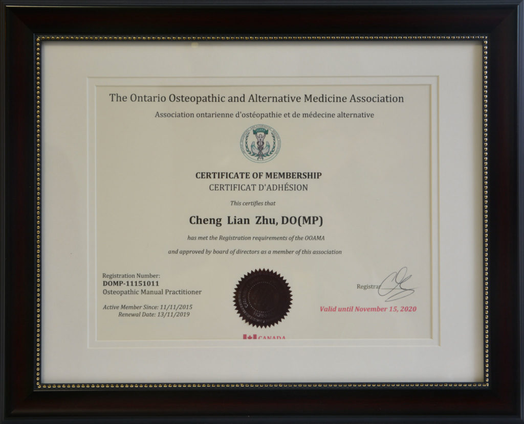 Ontario Osteopathic and Alternative Medicine Association Certificate